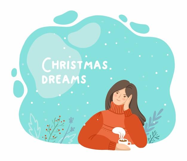 Ilustração de uma menina pensativa com um clima de natal