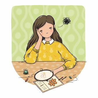 Ilustração de uma menina triste bordando na mesa