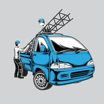 Ilustração de uma mini caminhonete e de um trabalhador da estrutura do edifício