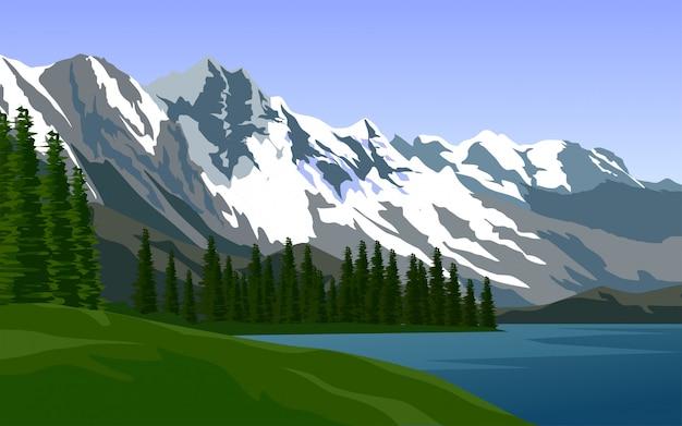 Ilustração de uma montanha coberta de neve com pinheiros e lago