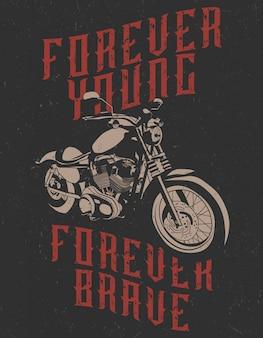 Ilustração de uma motocicleta com a citação.