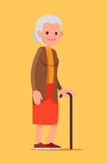Ilustração de uma mulher adulta com uma bengala. senhora sênior andando.