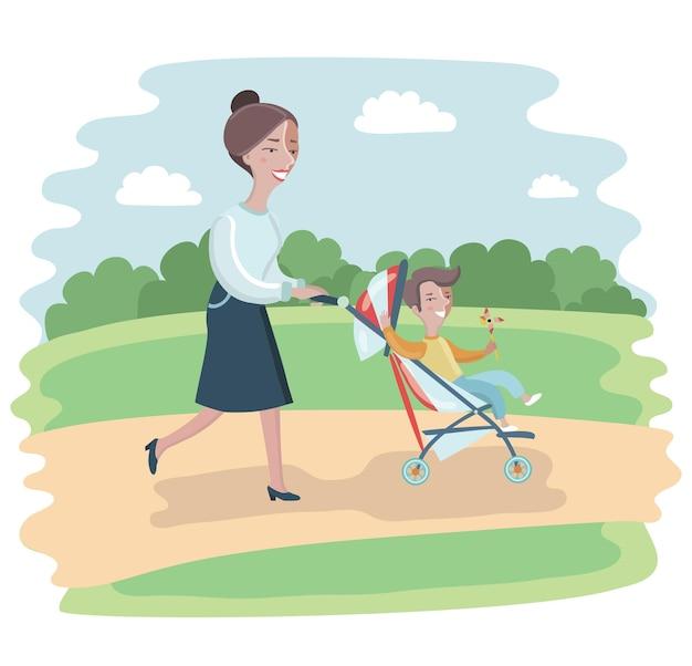 Ilustração de uma mulher de desenho animado caminhando no parque com um carrinho e uma criança