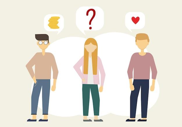 Ilustração de uma mulher e dois homens. um tem dinheiro, o outro tem amor. quem escolher