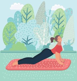 Ilustração de uma mulher fazendo pose de ioga para cachorro