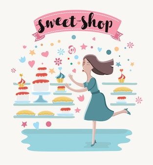 Ilustração de uma mulher feliz dos desenhos animados na confeitaria