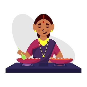 Ilustração de uma mulher indiana cozinhando na cozinha