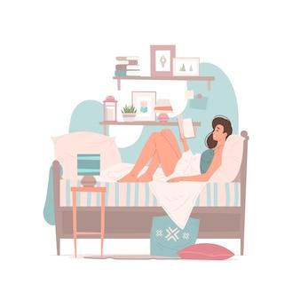 Ilustração de uma mulher moderna sentada na cama sob o cobertor e lendo um livro