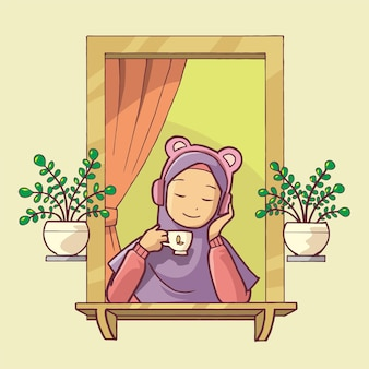 Ilustração de uma mulher muçulmana relaxando na janela usando fones de ouvido enquanto bebe café