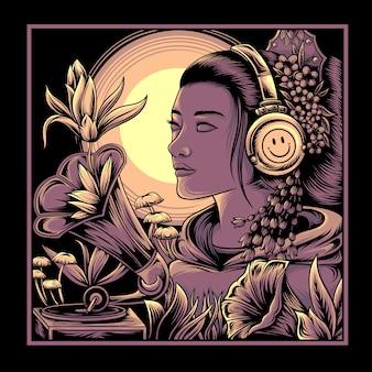 Ilustração de uma mulher ouvindo música com fones de ouvido