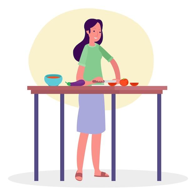Ilustração de uma mulher preparando o café da manhã em uma cozinha