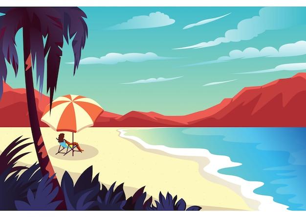 Ilustração de uma mulher que aprecia uma vista da praia em um verão árido e quente.