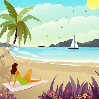 Ilustração de uma mulher que aprecia uma vista da praia no verão.
