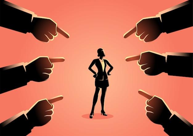 Ilustração de uma mulher sendo apontada por dedos gigantes
