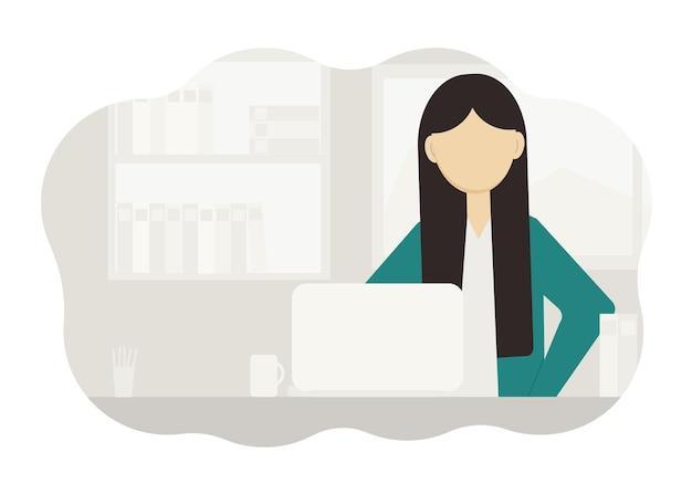 Ilustração de uma mulher sentada em sua mesa com um computador