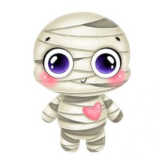 Ilustração de uma múmia de halloween bonito dos desenhos animados com um coração rosa isolado