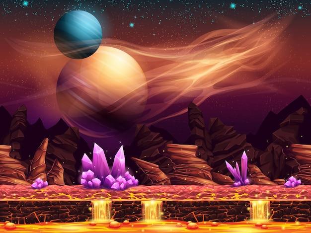 Ilustração de uma paisagem fantástica do planeta vermelho com cristais roxos
