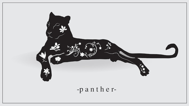 Ilustração de uma pantera negra com plantas brancas e flores no corpo