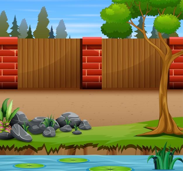 Ilustração de uma parede de tijolos no jardim