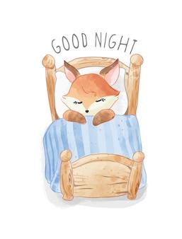 Ilustração de uma pequena raposa dormindo em uma conta de madeira