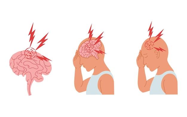Ilustração de uma pessoa com dor de cabeça e inflamação do cérebro humano.