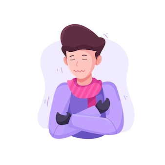 Ilustração de uma pessoa com um resfriado