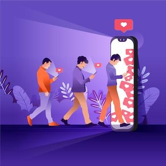 Ilustração de uma pessoa viciada em mídias sociais