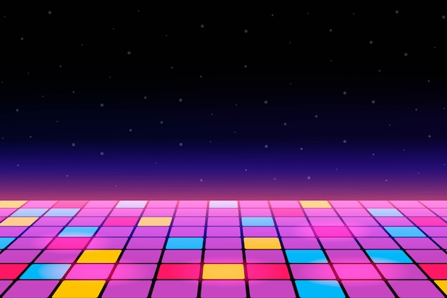 Ilustração de uma pista de dança entre o espaço aberto estrelado.