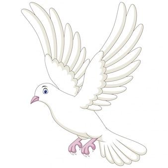 Ilustração de uma pomba dos desenhos animados no fundo branco