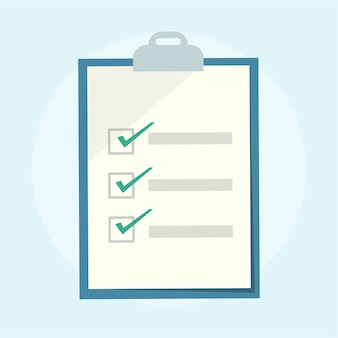 Ilustração de uma prancheta de lista de verificação