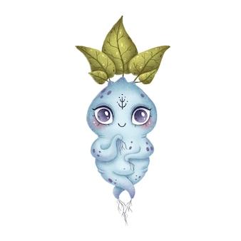 Ilustração de uma raiz mágica do mandrake da floresta dos desenhos animados bonitos. monstro de conto de fadas azul com folhas, pedras preciosas e ornamento folclórico em um fundo branco