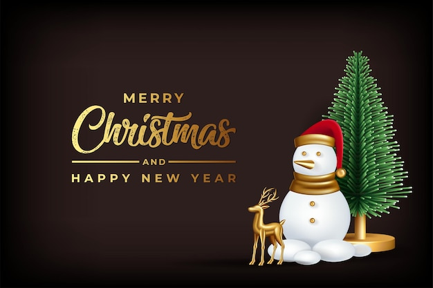 Ilustração de uma rena de árvore de natal de boneco de neve realista com mery natal e feliz ano novo
