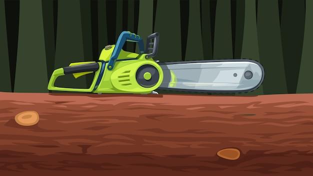 Ilustração de uma serra elétrica com vista lateral realista de cor verde deitada em uma árvore na floresta
