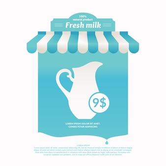 Ilustração de uma tenda de comércio de rua de produtos lácteos. plano de fundo para publicidade de leite. cartaz para a loja ou site