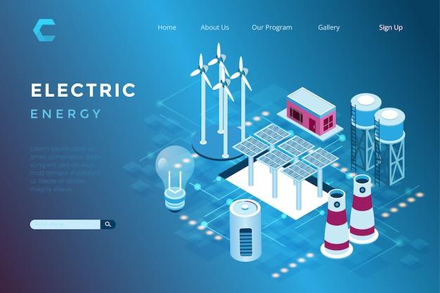 Ilustração de uma usina solar e eólica com um conceito ambientalmente amigável no estilo 3d isométrico