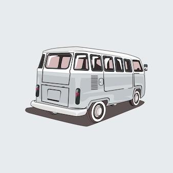 Ilustração de uma van de campista clássica