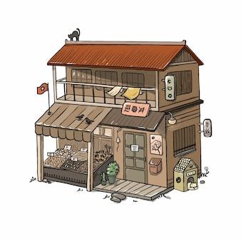 Ilustração de uma velha casa japonesa de madeira