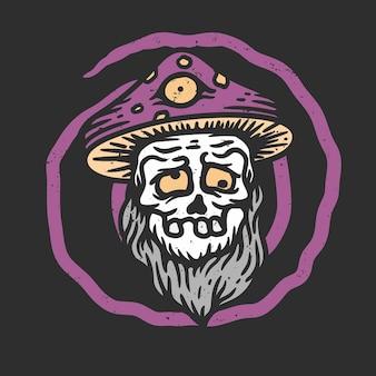Ilustração de uma velha caveira bêbada usando um chapéu de cogumelo mágico em um fundo preto em estilo vintage