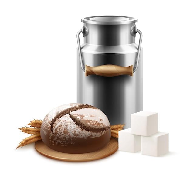 Ilustração de uma velha jarra de leite de metal vintage ou lata de leite com pão fresco em um suporte de madeira