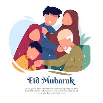 Ilustração de uma visita à casa dos pais durante o eid