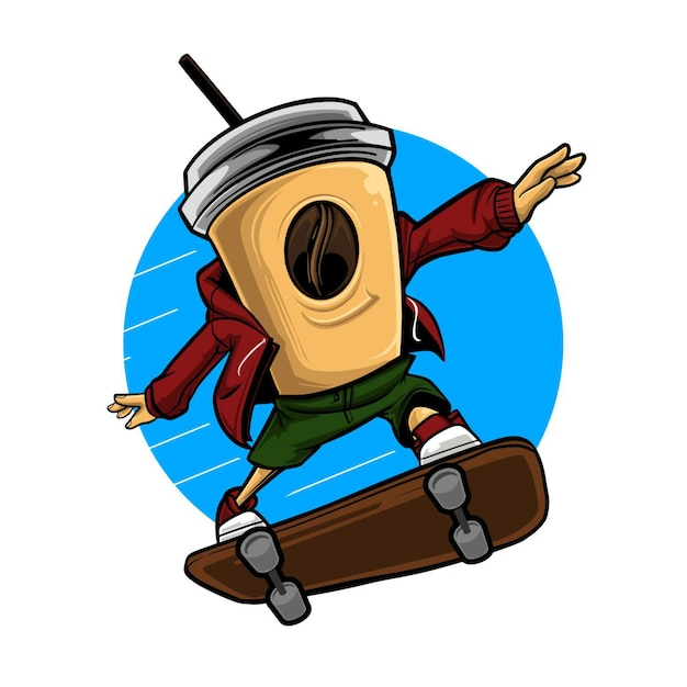 Ilustração de uma xícara de café voando usando um skate