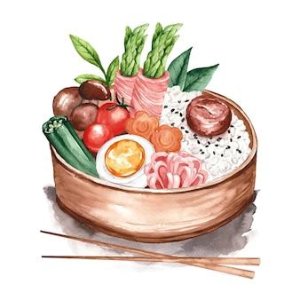 Ilustração de umeboshi bento em aquarela
