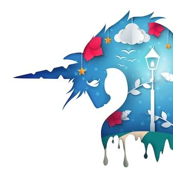 Ilustração de unicórnio dos desenhos animados.