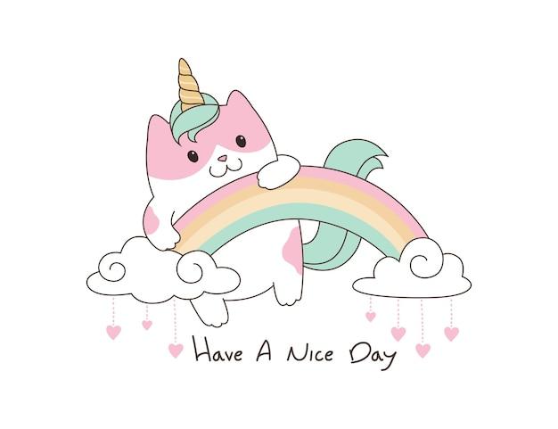 Ilustração de unicórnio gatinho fofo