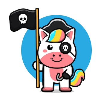Ilustração de unicórnio pirata fofo