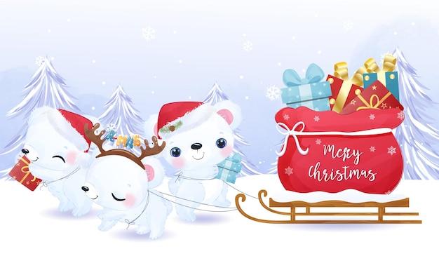 Ilustração de ursinho polar e presentes de natal