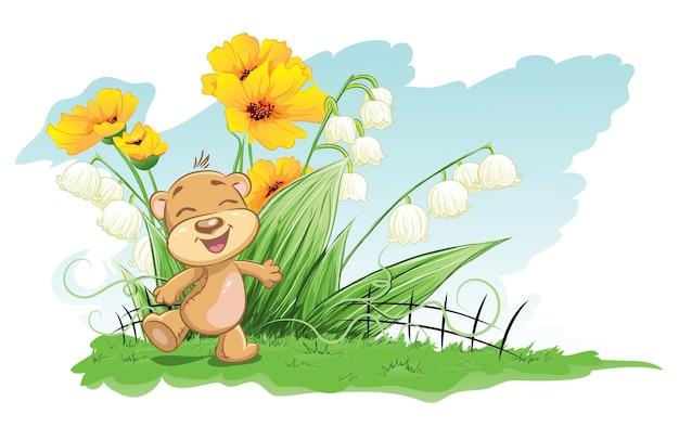 Ilustração de urso alegre com lírios e flores
