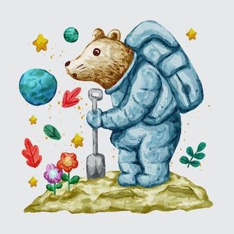 Ilustração de urso astronauta fofo em aquarela