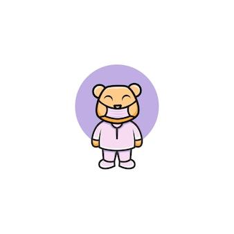 Ilustração de urso bonito enfermeira usando uma máscara