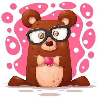 Ilustração de urso bonito, engraçado. personagem animal
